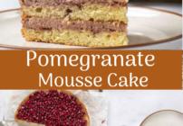 pinterest image for pomegranate mousse cake
