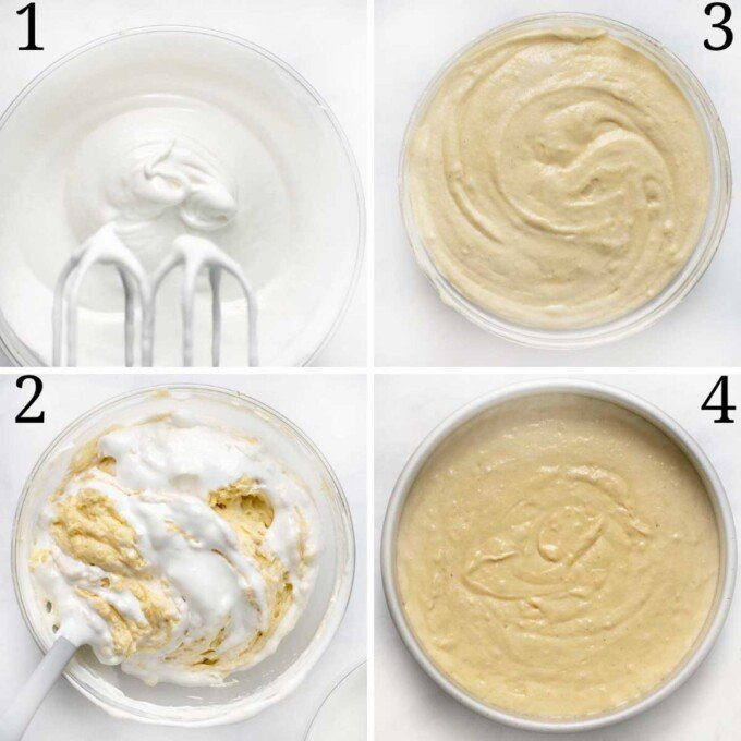 four images showing how to add the egg whites to the yellow cake