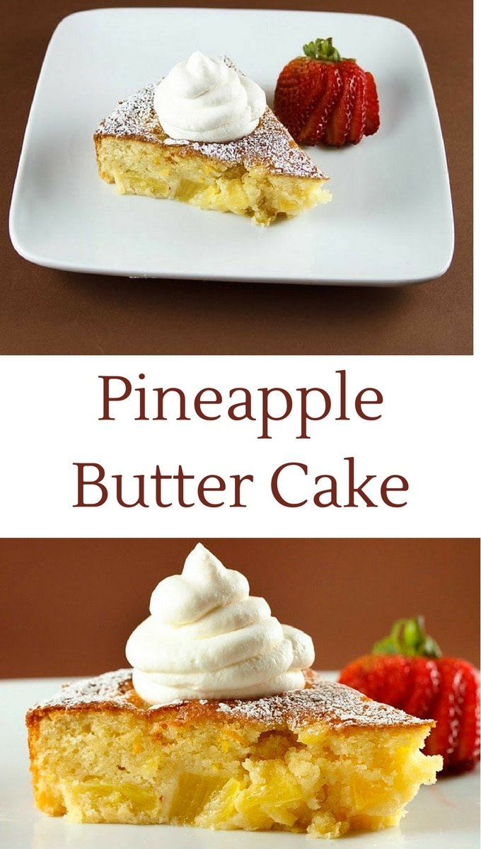 2 pictures of pineapple butter cake on a brown background