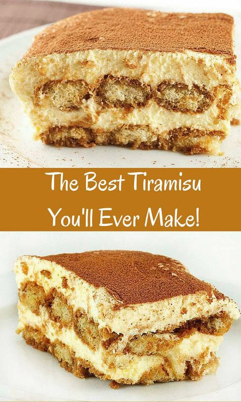 2 pictures of tiramisu separated by a brown word bar that says the best tiramisu you'll ever make