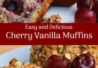Pinterest image for cherry vanilla muffins