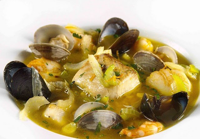 white bowl of bouillabaisse