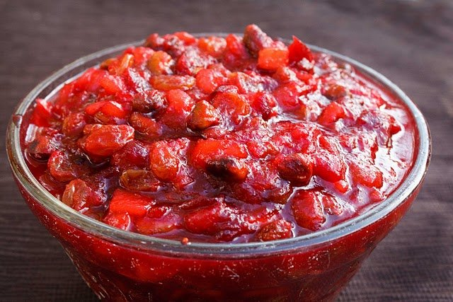 homemade whole berry cranberry sauce in a bowl
