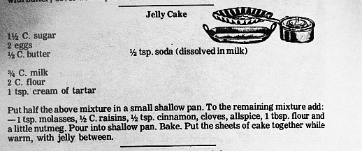 screenshot of old recipe for jelly cake