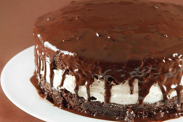 side view of chocolate olive oil cake with a layer of mascarpone cream in between the layers
