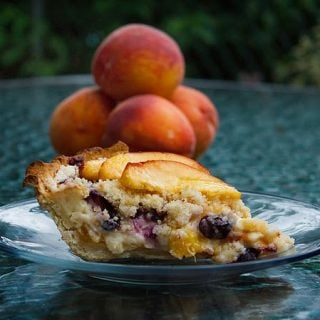 Life is Short so Eat Dessert First, a Perfect Summertime Pie- Peach Blueberry Custard