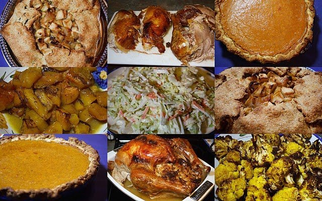 thanksgiving dishes in a collage