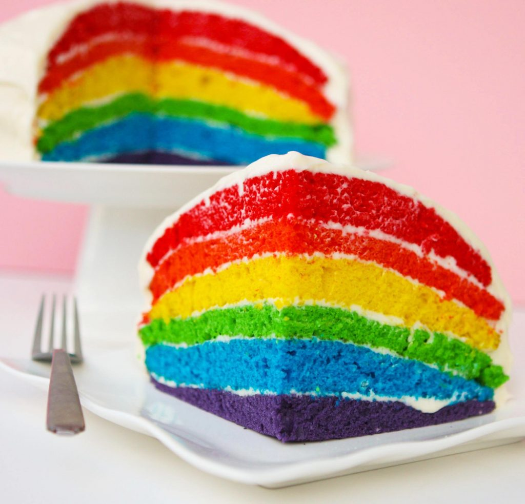 rainbow cake slice sitting on a white plate with a fork , whole cake in the background