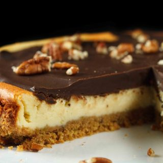 Feta Cheesecake with a Rich Chocolate Glaze