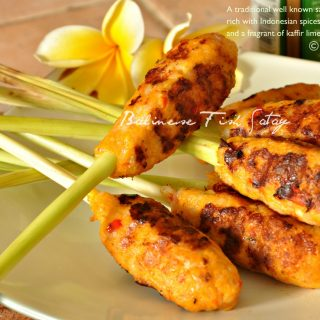 Balinese fish satay on lemongrass skewers