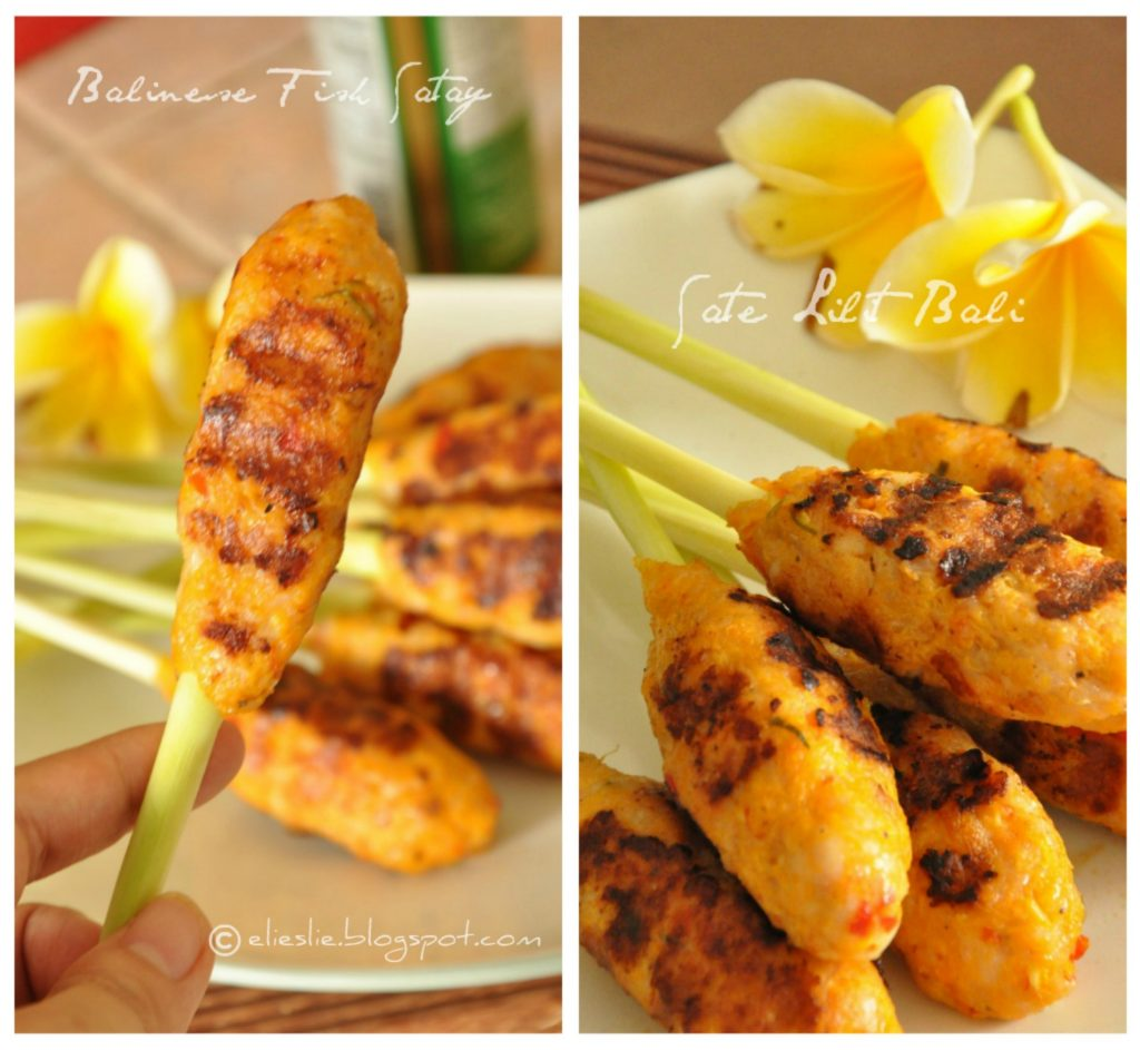 two pictures of Balinese fish satay