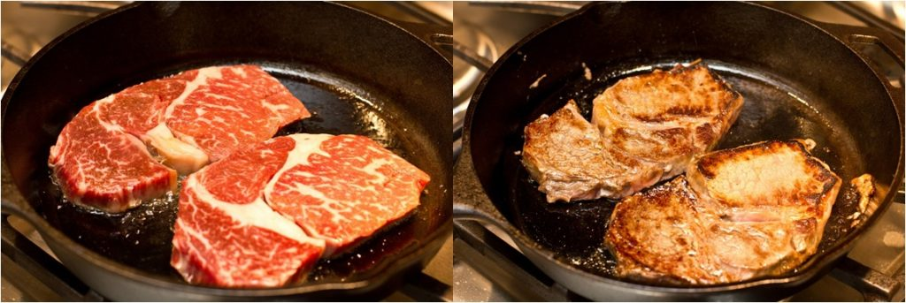 step one and two on cooking beef for teriyaki