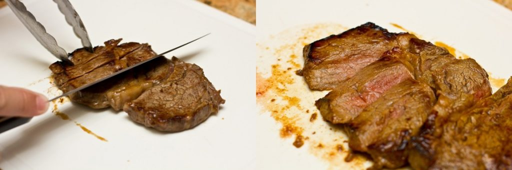 2 pictures of slicing cooked beef