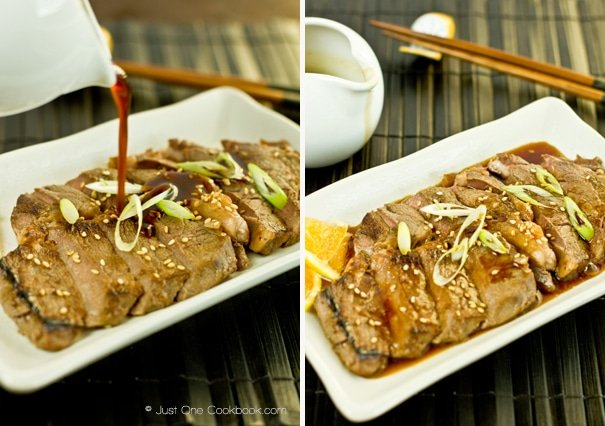 two pictures pouring sauce and finished beef teriyaki on oblong plate
