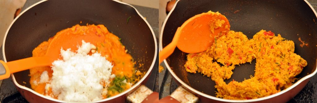 Two pictures of seasonings in a pot with a spoon prepping the Balinese Fish Satay