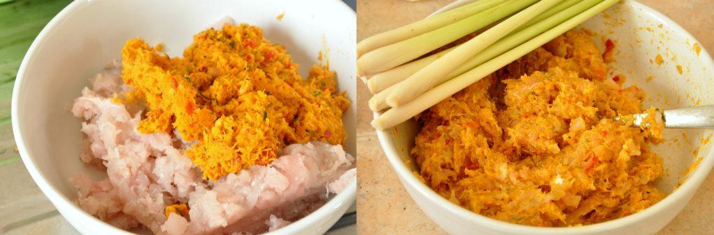 2 images of making Balinese fish satay