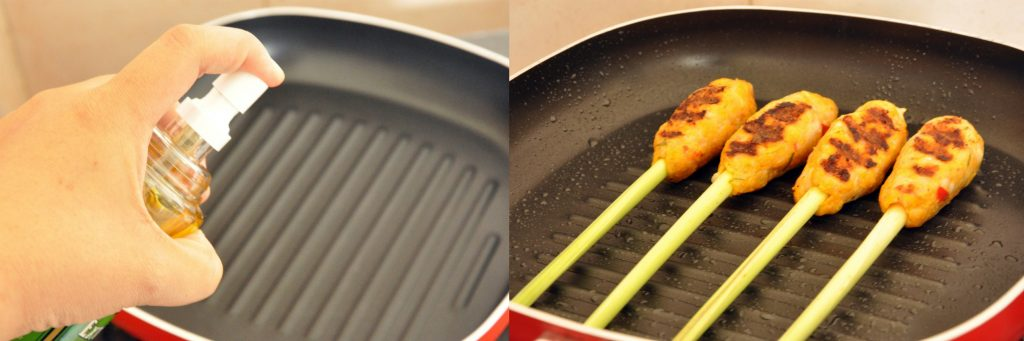 two pictues. spraying the pan and cooking the satay on a grill pan leaving grill marks