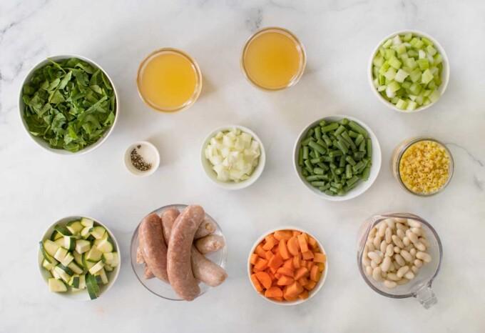 ingredients to make sausage and bean minestra