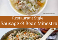 Pinterest image for sausage and bean minestra