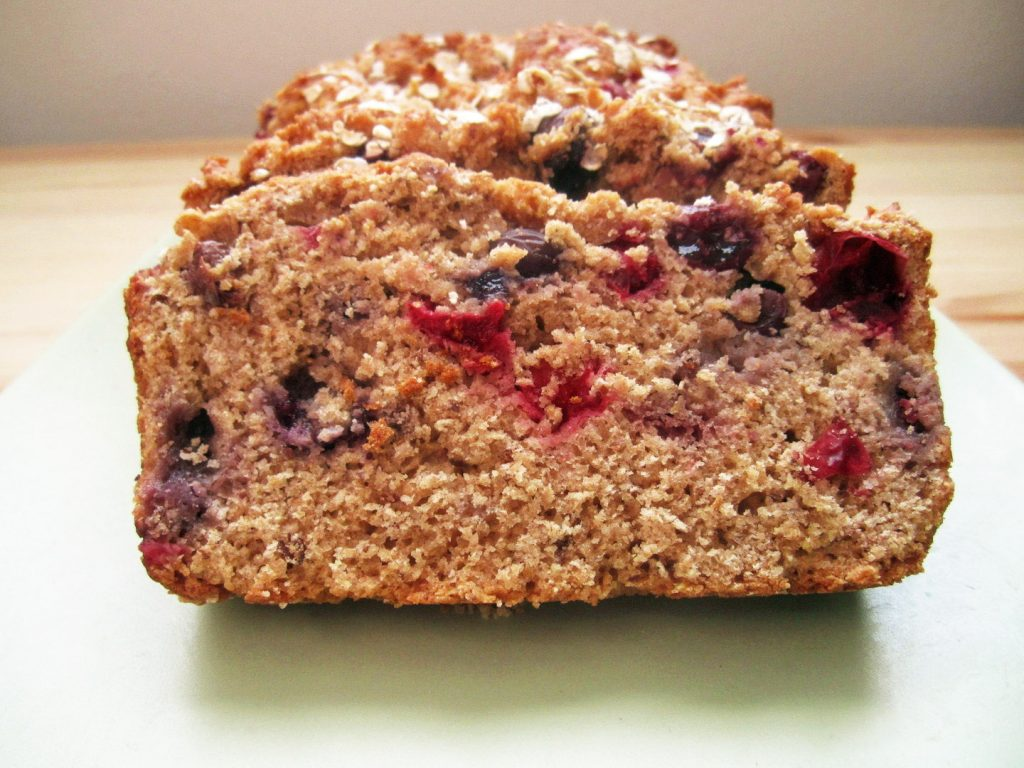 slices of Berry Citrus Bread on a white plate