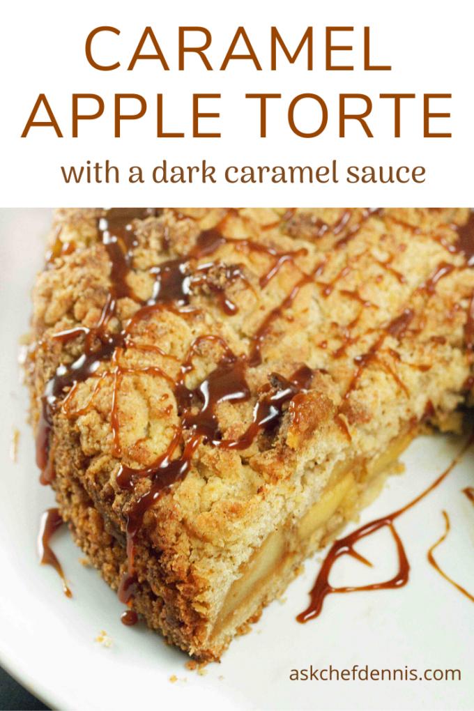 pinterest image for caramel apple torte