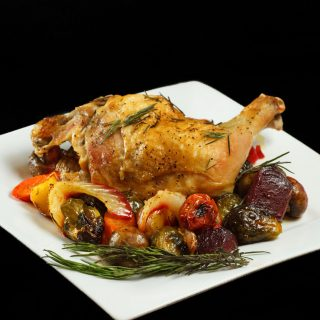 Roasted chicken with roasted vegetables