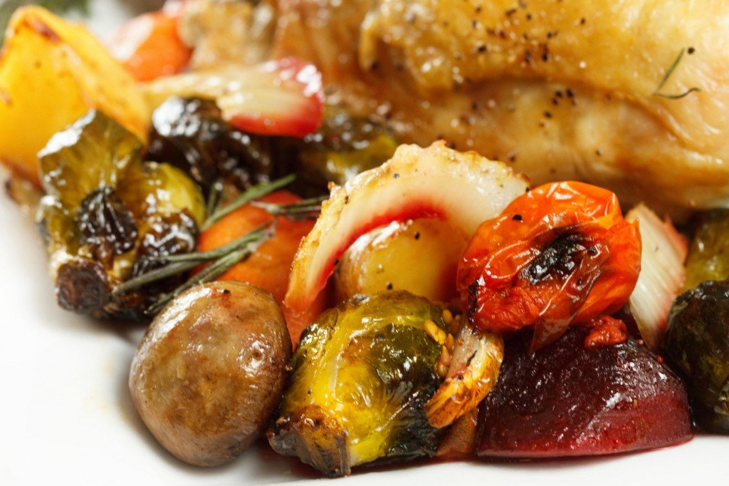 roasted chicken and roasted vegetables