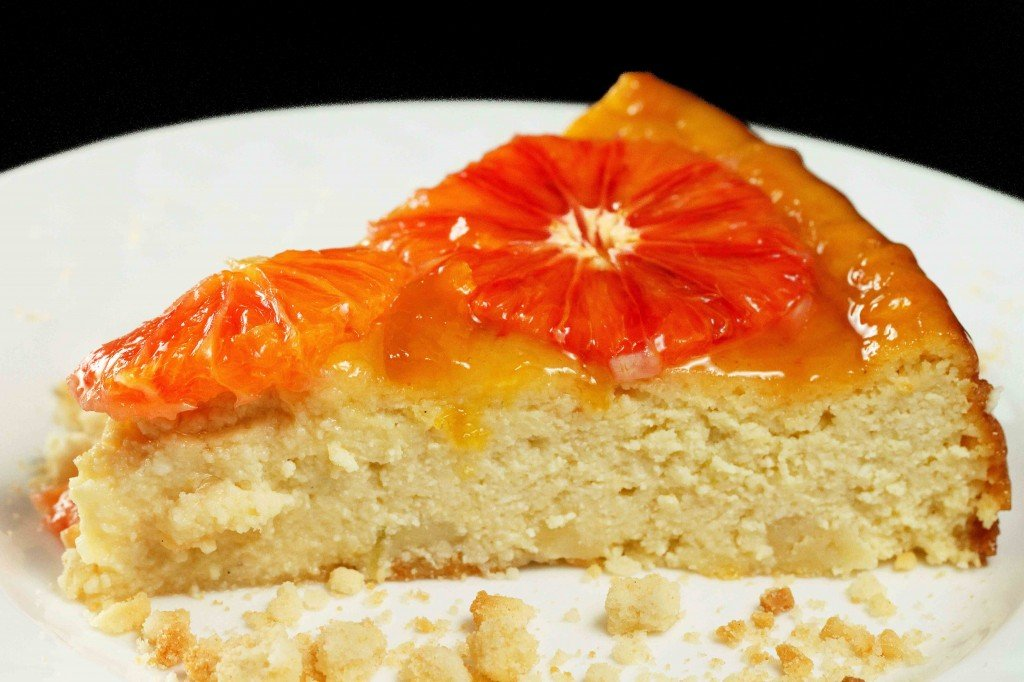 ricotta -mascarpone cheesecake with blood oranges
