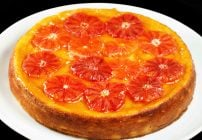 Ricotta cheesecake topped with blood oranges