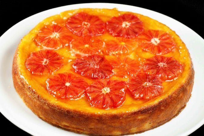 Ricotta Cheesecake with Blood Orange Topping