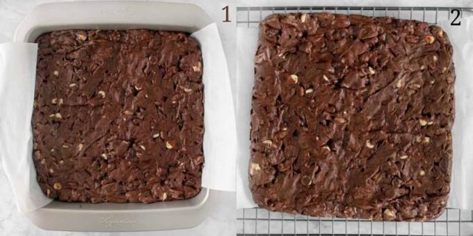 two images of baked brownies in pan and on rack