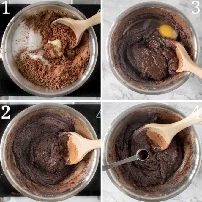 four images showing how to make brownies