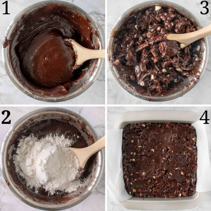 four images showing how to finish making brownies
