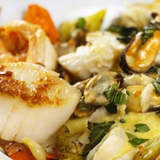 Ligurian Seafood Stew with a Basil Saffron Creme Sauce