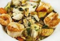Ligurian Seafood Stew with a Basil Saffron Creme Sauce -In My Restaurant Kitchen