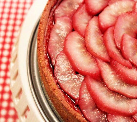 zinfandel poached pear tart