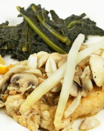 Chicken Oscar with White Asparagus and Tuscan Kale