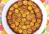 Chocolate Citrus Frangipane Tart with kumquats
