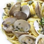 linguine and clams in a white bowl