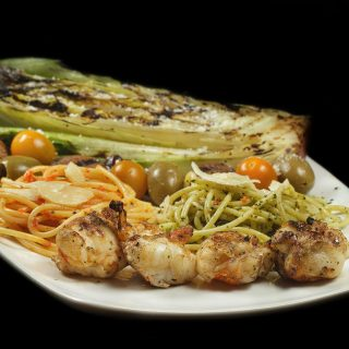 Grilled Lobster and Spaghetti with Pesto Two Ways