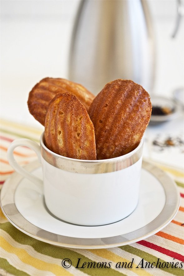 honey mango Madeleines in a tea cup on a striped dish cloth