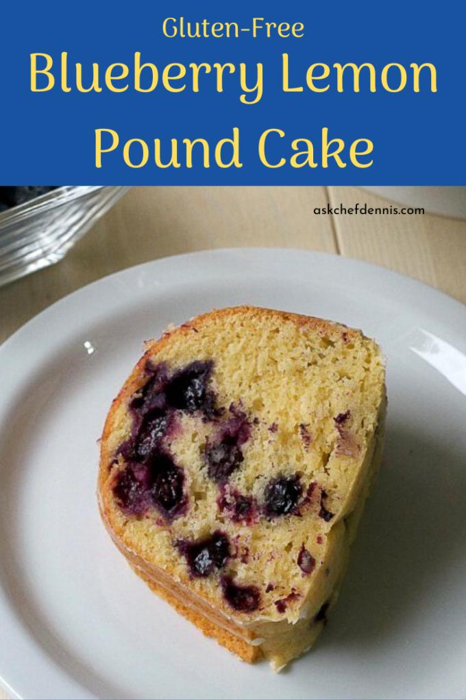 pinterest image for gluten free blueberry lemon pound cake