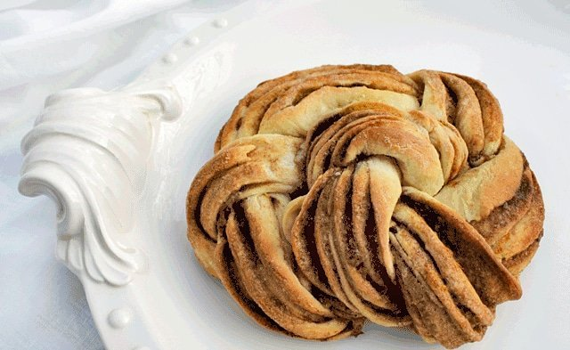Orange Cinnamon Vanilla Pastry Recipe sitting on an ornate white platter