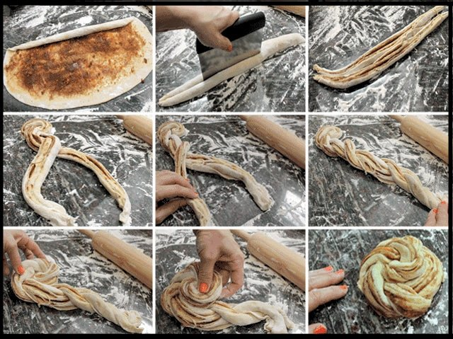 nine images showing how to roll and braid the pastry dough