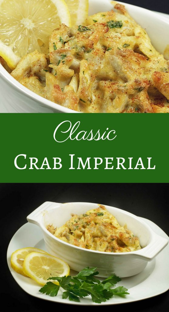 Classic Crab Imperial shown in two photos