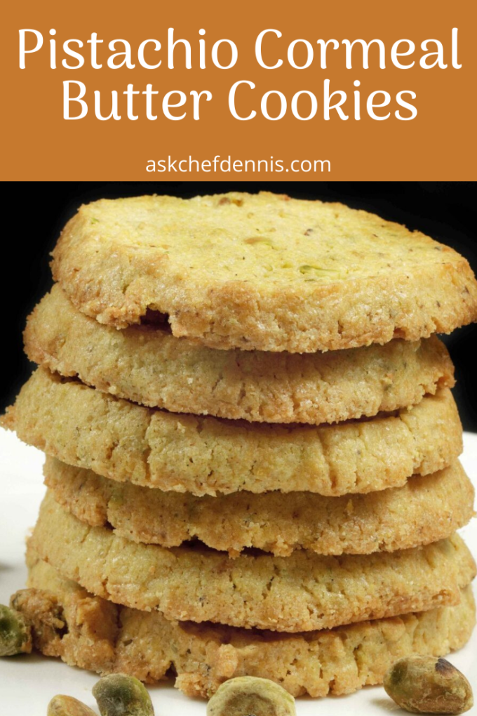 Pinterest image for Pistachio Cornmeal butter cookies
