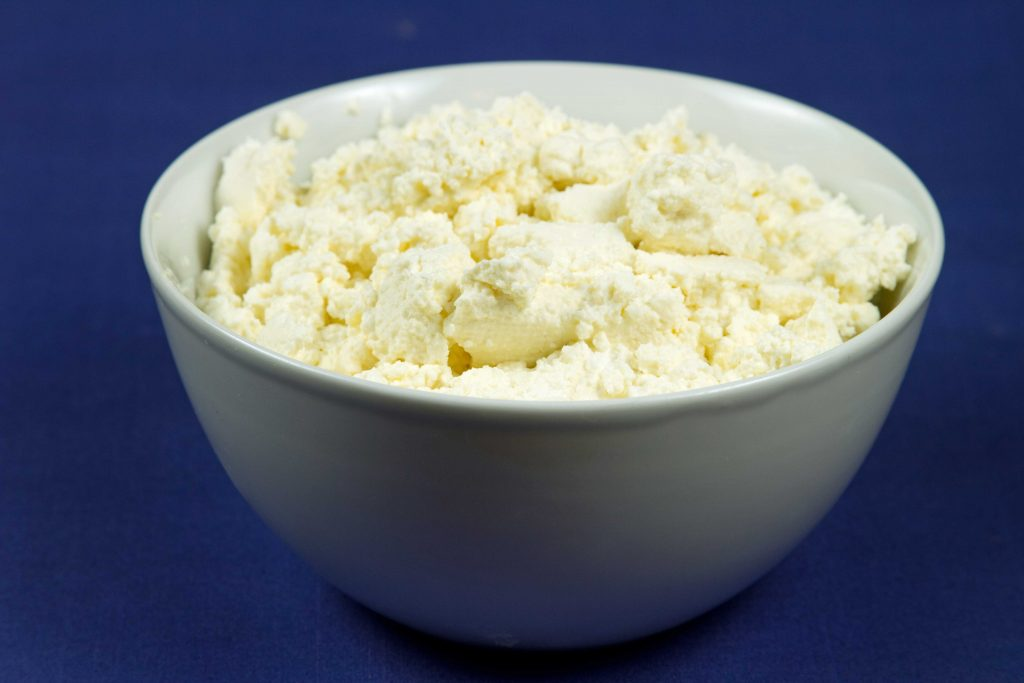 homemade ricotta cheese curds in a white bowl on a blue table