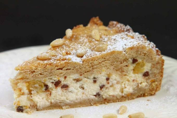 slice of torta di ricotta on a white plate