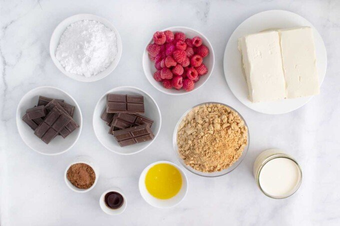 overhead view of ingredients to make a no bake chocolate cheesecake