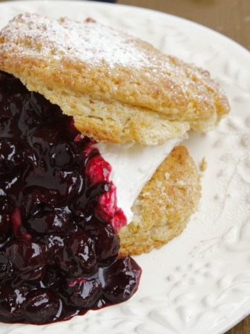 split scone wit blueberry sauce on a white plate